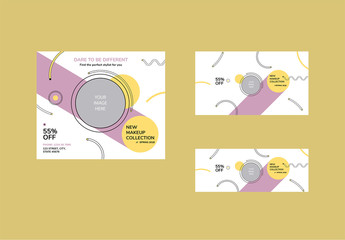 Social Media Cover And Post Layout With Pastel Shapes