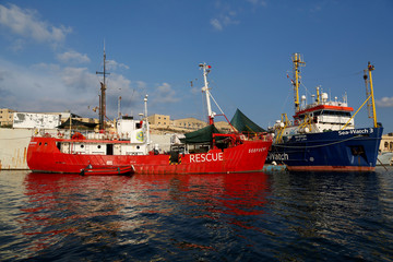 The humanitarian charity rescue ships Seefuchs and Sea-Watch 3 are seen berthed in Marsa in Valletta's Grand Harbour