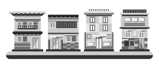 Japanese style houses. City buildings in grayscale color. Flat illustration