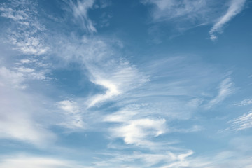 white clouds on azure sky