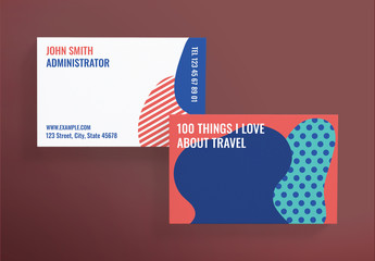 Business Card Layout with Abstract Elements
