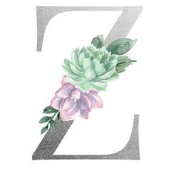 Watercolor Monogram Alphabet Letter Z Silver Foil
