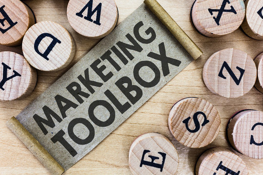Text sign showing Marketing Toolbox. Conceptual photo Means in promoting a product or services Automation.
