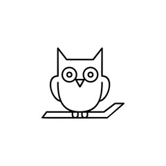 Owl on the branch icon. Simple outline vector of halloween for UI and UX, website or mobile application