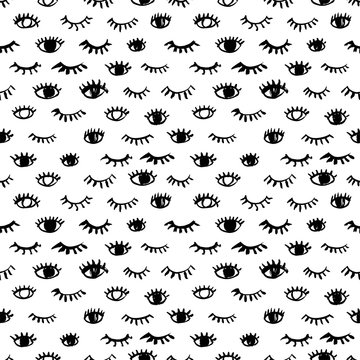 Seamless pattern with eyes and eyelashes. Hand drawn vector ornament.