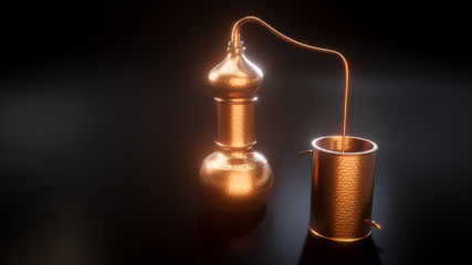 Copper alembic distiller 3d illustration