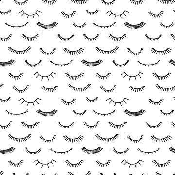 Seamless pattern with eyelashes. Doodle style.