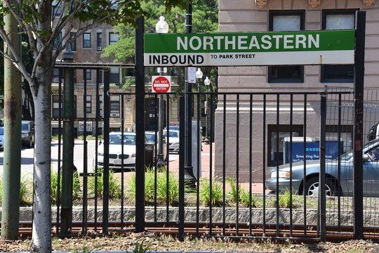 MBTA Green Line Surface-Level Trolley Stop at Northeastern University in Boston, Massachusetts