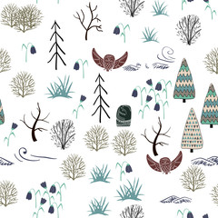 Seamless pattern with forest elements and hand drawn shapes. Childish texture.
