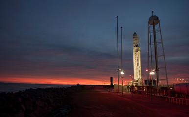 The Orbital ATK Antares rocket on launch Pad-0A, at NASA's Wallops Flight Facility in Virginia