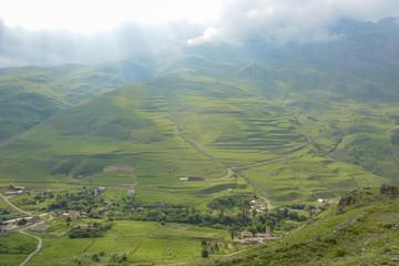 Fiagdon high mountain village in Kurtatinskoe gorge, Republic of North Ossetia, Russia