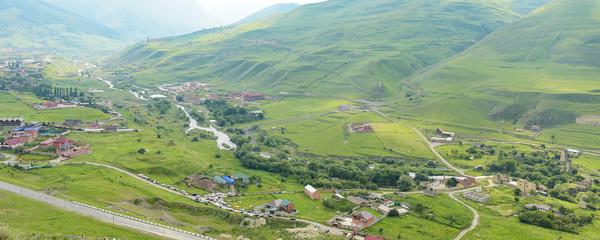 Aluminium Prints Olive Fiagdon high mountain village in Kurtatinskoe gorge, Republic of North Ossetia, Russia