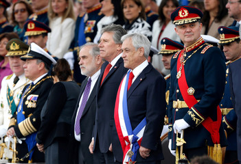 Chile's President Sebastian Pinera is seen during the annual military parade at the Bernardo O'Higgins park in Santiago