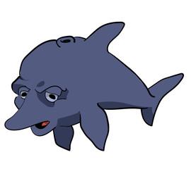 Depressed dolphin cartoon