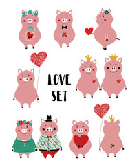 Wall Murals Owls cartoon Love Set With Funny Pig.