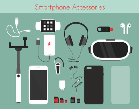 Vector illustration set of different phone accessories on green background. Smartphone with power bank, charger and headphones, watch, 3D reality glasses and others accessories in flat style.