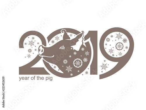 year of the pig on the chinese calendar 2019 cute piglet and