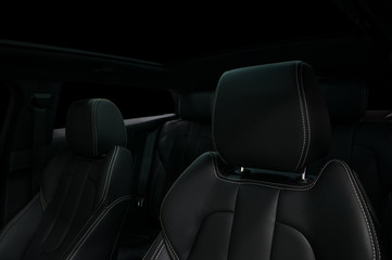 Modern car interior. Leather seats.