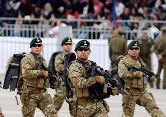 Marines of the Chilean navy march during the annual military parade in Santiago
