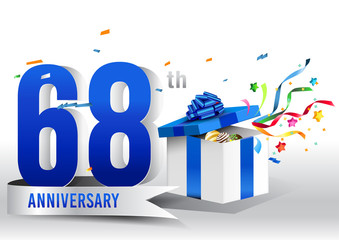 68 years anniversary background with ribbon, confetti and gift on white. Poster or brochure template. Vector illustration.