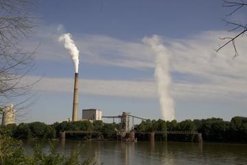 tall smokestacks from power plants