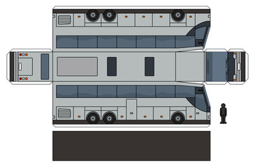 The simple vector paper model of a silver long touristic bus