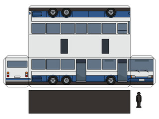 The simple vector paper model of a blue and white long bus