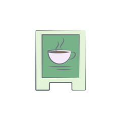road sign of coffee colored icon. Element of colored coffee icon for mobile concept and web apps. Color road sign of coffee icon can be used for web and mobile