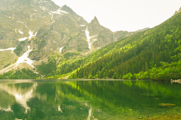 Photo sur Plexiglas Reflexion A beautiful view of the 'Morskie Oko' lake in the Polish Mountains in the Tatras. Green trees are reflected from the water's surface. A beautiful landscape from the perspective of a tourist.