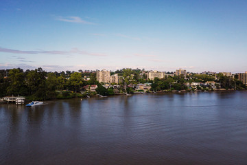 still image of Brisbane River, looking to St Lucia, matches drone footage