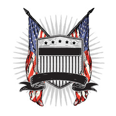 Vector Double American Flags behind Distressed Rustic Shield with Stars & Stripes and Banner.