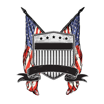 Isolated Vector Double American Flags behind Distressed Rustic Shield with Stars & Stripes and Banner.