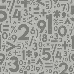 Seamless Vector Textured Math Operation Symbols and Numbers in Light and Dark Warm Gray.