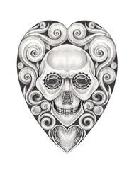 Art Vintage Heart mix Skull Tattoo. Hand pencil drawing on paper.