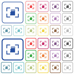 Camera memory card outlined flat color icons