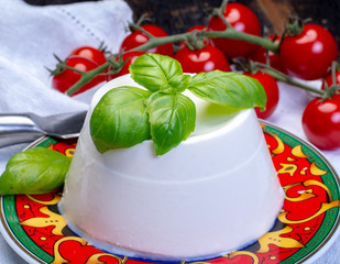 Italian soft cheese, young white ricotta cheese served with fresh basil and tasty ripe cherry tomatoes