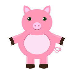 Isolated stuffed pig toy