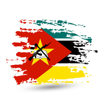 Grunge brush stroke with Mozambique national flag
