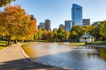 Boston City Skyline as Seen from Boston Common Public Park in Autumn