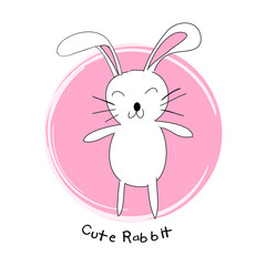 Cute Rabbit. Cartoon style for shirt design.