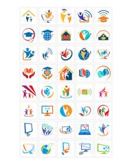 graduation computer image vector icon logo symbol set