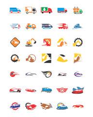 variation mixed transportation car image vector icon logo symbol set