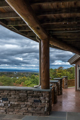 Rustic Timber and Stone Porch with Landscape View In Pennsylvania, USA