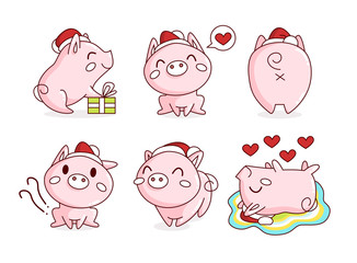 Set of cute pigs. The symbol of the Chinese new 2019 year. Vector illustration on white background.