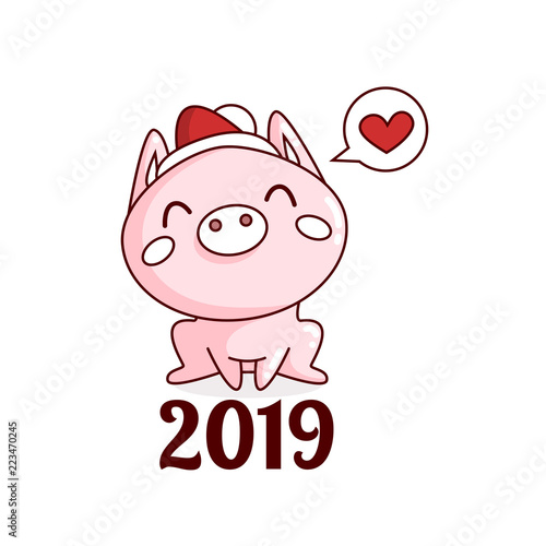 Creative Postcard For New 2019 Year With Cute Pig Happy New Year