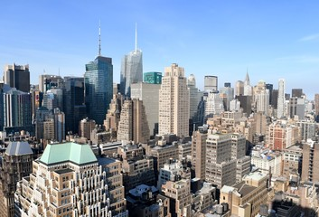 New York City Manhattan midtown view with skyscrapers, New York City, USA.