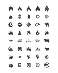 variation mixed silhouette faith flame image vector icon logo symbol set