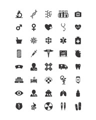 variation mixed physics medical lab image vector icon logo symbol set