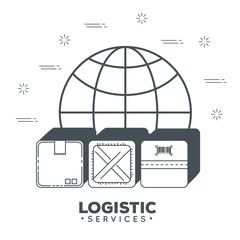 logistic services with sphere planet