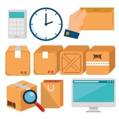 logistic services set icons